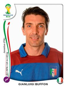 Gianluigi Buffon of Italy. 2014 World Cup Finals card. Football Stickers, Football Cards, World Cup 2014, Fifa World Cup, America Album, Juventus Soccer, Player Card, National Football Teams, World Cup Final