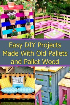 Easy DIY pallet crafts and furniture projects for home Pallet Crafts, Diy Pallet Projects, Diy Home Crafts, Furniture Projects, Easy Diy Projects, Easy Crafts, Unique Pallet Ideas, Diy Ideas, Old Pallets