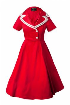 Collectif Clothing 50s Rhonda Doll Sailor red swing dress