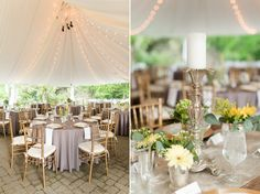 Sundara Wedding | Table Setting, Yellow and Gray, Floral Arrangements, Wedding Tent, Head Table