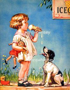 "Art Print Dog, Little Girl Eat Ice Cream ""Good At Both Ends"" RESTORED Art Print from Circa 1930 Gift for Dog Lover, Girl's Room Print #308"