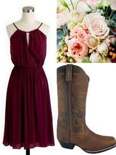 Cranberry-Red-Bridesmaid Dress Ideas-Lisa Sammons Events, Rustic, J. Crew, Cowboy Boots, Rustic october wedding colors schemes / fall wedding ideas colors october / fall wedding ideas november / fall winter wedding / fall colors for wedding Red Bridesmaids, Burgundy Bridesmaid Dresses, Bridesmaid Outfit, Dress With Boots, The Dress, Country Style Wedding Dresses, Country Dresses, Wedding Country, Hair