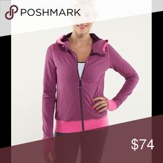 "Lululemon Bliss Break Hoodie Hyperstripe Plum/Rasp Lululemon Bliss Break Hoodie Hyperstripe Plum/Raspberry Glo. No size dot but measures size 6 ; 17"" width, 23"" length. ""The French Terry fabric is breathable and has four-way stretch. The venting in the back adds range of movement. Thumbholes help keep sleeves down for easy layering. Secure zipper pockets to hold your stuff."" In gently used condition. No cuts, stains, or defects. lululemon athletica Tops Sweatshirts & Hoodies"