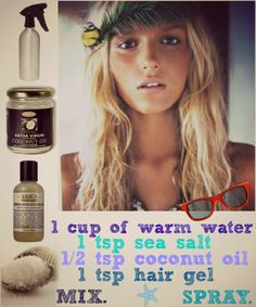 My recipe is close enough... I used cocnut lotion, and it works great and keeps frizz down! DIY beach hair.