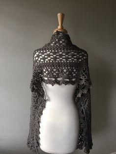 Romantic crochet shawl or wrap lace scarf by KnittinKittenNC