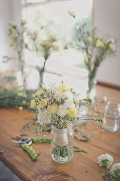 We made our own bouquets - carnations, carnation spray & gypsophila for the bridesmaids  and lysianthus & gypsophila for mine.    The link is to the blog of our amazing photographers Jonny & Pia