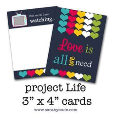 This week I am watching journaling card freebie for Project Life | [ One Velvet Morning ]