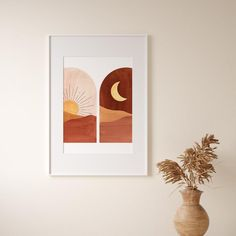 Terracotta Print Downloadable Abstract sun and moon Printable | Etsy Printing Services, Online Printing, Orange Home Decor, Orange House, Landscape Prints, Frame Shop, Printable Wall Art, Canvas Art Prints, Geometric Shapes