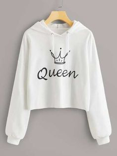 To find out about the Letter And Crown Print Crop Hoodie at SHEIN, part of our latest Sweatshirts ready to shop online today! Girls Fashion Clothes, Teen Fashion Outfits, Fashion Mode, Outfits For Teens, Trendy Outfits, Girl Outfits, Fashion Styles, Fashion Style For Teens, Shirts For Teens