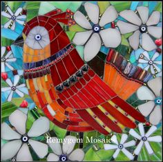 Ruby by Remygem. I really like this gals unique mosaic style. Mosaic Animals, Mosaic Birds, Mosaic Flowers, Mirror Mosaic, Mosaic Art, Mosaic Glass, Mosaic Crafts, Mosaic Projects, Mosaic Designs