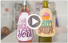 Free video with instructions on how to embroider bottle aprons in the hoop.