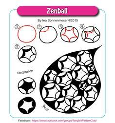 Zenball by Ina Sonnenmoser Zentangle Drawings, Doodles Zentangles, Doodle Drawings, Doodle Art, Easy Zentangle, Pen Drawings, Easy Drawings, Zen Doodle Patterns, Zentangle Patterns