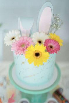 WOW! What a gorgeous floral Easter Bunny cake at this Easter party! It's a great idea for a bunny-themed party too! See more party ideas and share yours at CatchMyParty.com