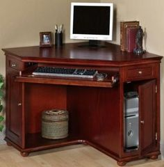 Amazon.com: Hampton Bay Corner Computer Desk, CORNER, HAZEL BROWN: Home & Kitchen