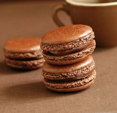 """Macaron tips (""""to what a chocolate macaron should look and taste like - crisp yet chewy, damply moist without being dense, smoothly domed on top but """"footed"""" with a craggy circlet, and above all, intensely chocolatey."""")"""