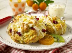 Pear Cranberry Scones Recipe - Chopped fresh pears, dried cranberries, and orange zest make delicious scones for breakfast, brunch, or tea time. Milk Recipes, Dairy Free Recipes, Vegan Recipes, Cooking Recipes, Vegan Desserts, Easy Recipes, Gluten Free, Lactose Free, Vegan Sweets