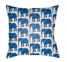 Artistic Weavers Lolita Elephant Navy Blue And Ivory 14 X 24 In. Pillow With Poly Fill 1424 Ivory Elephant, Elephant Print, Elephant Pillow, Outdoor Throw Pillows, Accent Pillows, Blue Bedding, How To Make Pillows, Blue Ivory, Navy Blue