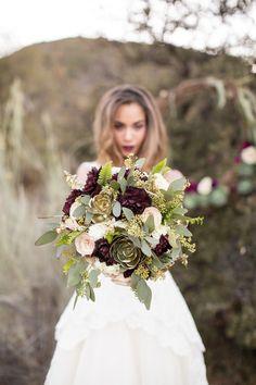 #succulent, #dahlia Photography: Jessica Lewis Photography - jessicalewisphoto.com Read More: http://www.stylemepretty.com/california-weddings/2014/06/24/rustic-elegant-styled-winter-wedding-shoot-at-bodees-rancho-grande/