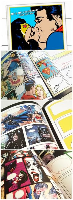 Superhero Wedding - Guest Book - Batman Wedding Guest Books and Invitations - Superman Wedding - Joker and Harley Quinn Wedding  https://www.etsy.com/listing/185137730/superhero-wedding-superhero-guest-book
