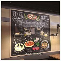 Pizza Ricceta 埼玉県 与野 イタリアン&ワインバーCONA様にて。 い、、、イタリア語なんだよ #chalkart #italian #illustrato #blackboard #Ricceta #pizza #illustration #チョークアート #施工 #黒板 #与野