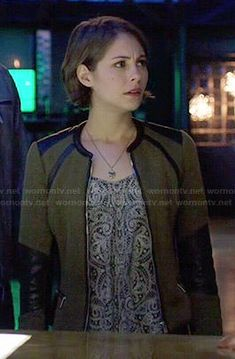 Thea's olive green jacket with leather trim and paisley printed top on Arrow.  Outfit Details: http://wornontv.net/47989/ #Arrow