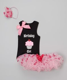 This Pink 'Birthday Girl' Tutu Set - Infant, Toddler & Girls by Beary Basics is perfect! #zulilyfinds