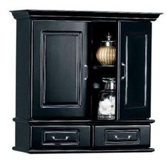 """SAVE $50 - #Dexter 23""""w Wall Cabinet With Wood Doors, 23.5""""W, BLACK $99.00"""