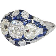 Finest Art Deco 1920s Platinum Diamond Sapphire Engagement Ring from thegenuinearticle on Ruby Lane