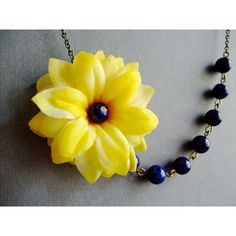 Statement Necklace,Yellow Sunflower Necklace,Floral Necklace,Yellow... ($33) ❤ liked on Polyvore featuring jewelry, necklaces, sunflower necklace, sunflower jewelry, floral necklace, yellow necklace and navy blue necklace
