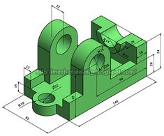 Technical Drawings, 3d Drawings, Autocad Isometric Drawing, Cad 3d, Drawing Exercises, Engineering, Link, Projects, Cook