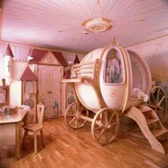 princess room ~ Cute for a little girl's room! Love the carriage bed! Girls Room Design, Girl Bedroom Designs, Girls Bedroom, Bedroom Decor, Bedroom Ideas, Nursery Ideas, Girl Nursery, Nursery Room, Bedroom Furniture