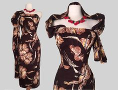 d7ae2f8c21d6 Alfred SHAHEEN late 40s early 50s Hawaiian Tiki Sarong Dress Sarong Dress,  Hawaiian Tiki,