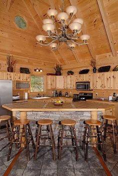 Kitchen, slant bar design, antler chandelier