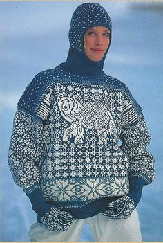 Ravelry: 7901 Polar Bear pattern by Mette N. Sweater Knitting Patterns, Knit Patterns, Tejido Fair Isle, Norwegian Knitting, Ugly Sweater Party, Fair Isle Knitting, Balaclava, Knit Fashion, Vintage Knitting
