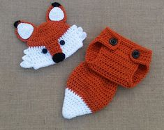 Crochet Newborn Fox Outfit - Baby Girl or Boy Woodland Costume - Photo Prop  - Beanie Hat, Diaper Cover, and Booties. Handmade   Homemade 84e85d83bad