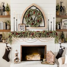 Furniture Layouts With The Lake House Berries, Burlap And Buffalo Checkthese Are A Few Of Our Favorite Things This Christmas Shop The Merry And Bright Farmhouse Collection In-Stores And Online Christmas Fireplace, Christmas Mantels, Farmhouse Christmas Decor, Noel Christmas, Country Christmas, Christmas 2019, All Things Christmas, Christmas Kitchen, Silver Christmas