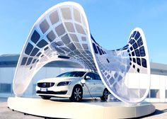 Volvo's Stunning Pure Tension Pavilion is a Lightweight Sun-Powered Charging Station Volvo Pure Tension Pavillion SDA Buro Happold Fabric – Inhabitat - Sustainable Design Innovation, Eco Architecture, Green Building