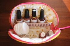 Mani Pedi Case / Mani Pedi Bag  holds 10 by needlebeandesigns  Add a roller ball with Lavender EO diluted in Vitamin E oil to roll onto cuticles to promote healthy nails and supporting tissue for a pampering manicure! Go the extra mile and make a homemade hand scrub (recipe on this board) and make a mani basket! Happy Gifting!