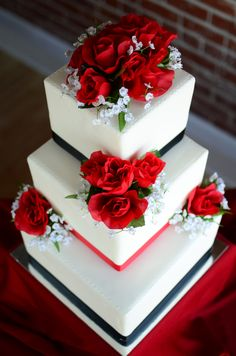 Red and Black wedding cake created by Tootsweets Cupcakery