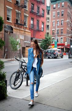 denim... double it. NYC. #WeWoreWhat