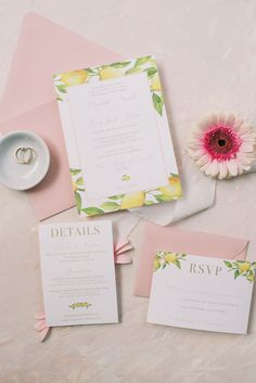 Lovely lemon wedding invitations for an Amalfi Coast inspired Italian wedding