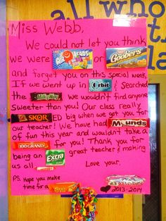 Teacher Appreciation poster using Candy Bars. | Candy Bar Posters ...