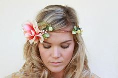 peach floral halo, whimsical floral crown, boho headpiece, rose flower halo , vintage floral crown , woodland wedding on Etsy, $65.00