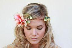peach floral halo, whimsical floral crown, boho headpiece, rose flower halo , vintage floral crown , woodland wedding on Etsy, $65.00