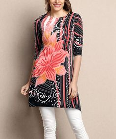 Loving this Black & Coral Floral Sidetail Tunic - Plus on #zulily! #zulilyfinds