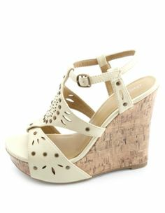 Studded Laser-Cut Platform Wedge Sandals: Charlotte Russe