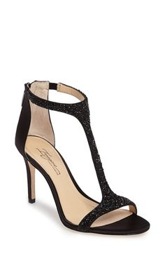 Free shipping and returns on Imagine by Vince Camuto 'Phoebe' Embellished T-Strap Sandal (Women) at Nordstrom.com. Dazzling crystals and beads adorn the sultry T-strap of a standout open-toe sandal lifted by a slender wrapped heel.