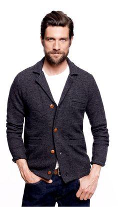 Wallace & Barnes Charcoal Gray Boiled Wood Cardigan. Men's Fall Winter Fashion.