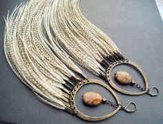 Long Feather Earrings: Festival Statement Earrings Full Feather Earrings Thick White Ivory Cream Faerie Goddess Tribal Wedding Bridal Bridal