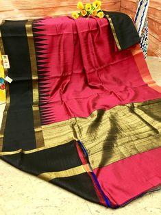 Feel the richness of the Silk Mark Certified pure Ghicha Silk Raw Saree with the exclusive color combination of Fuchsia and Black. Added Golden Zari weaving add more vibrancy to this perfectly gorgeous saree. Phulkari Saree, Kasavu Saree, Kanjivaram Sarees, Pochampally Sarees, Silk Sarees, Saris, Saree Dress, Saree Blouse, Bandhini Saree